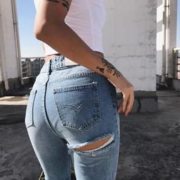 Wholesale girls fleece pants - 2018 Hole Ripped Jeans Women Jeans Woman Jeans For Girls Stretch Mid Waist Skinny Female Pants