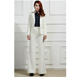 Куртка бизнес-класса онлайн-Women Pant Suits 2 Piece Set White New Bussiness Jacket And Pants Office Suits Ladies OL Formal Eletwo-piece suit