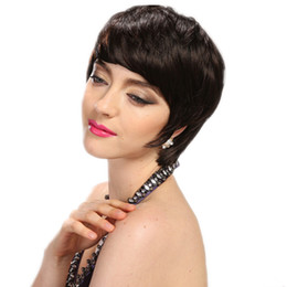 hot short hair cuts Promo Codes - Cheap Short Human Natural Brazilian Virgin Hair Glueless Wig For Black Women Celebrity Human Real Hair Short Cut None lace Wigs Hot Sale