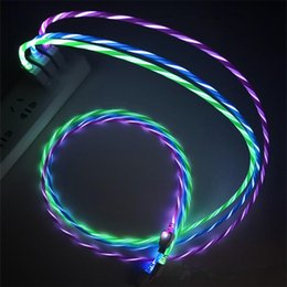 Deutschland Led-USB-Kabel Blitzlicht Datenleitung Handy-Ladegerät für Samsung S8 S9 Huawei Android Typ-C 1M Kabel supplier lighted flashing data cable Versorgung