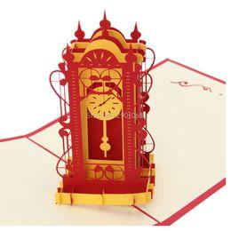 Wholesale laser clocks - Valentines Day Gift 3D Swing Clock Pop up Greeting Card Postcard Matching Envelope Laser Cut Handmade Birthday Post Card