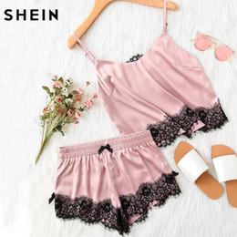 Wholesale Womens Sleepwear Shorts Set - SHEIN Pink Spaghetti Strap Lace Applique Satin Cami Top and Shorts Pajama Set Fall Womens Sleepwear Pajama Set