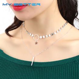 Wholesale Gold Tassel Necklace Sale - whole sale1PC Hot Sale Gold Silver Sequins Long Tassel Star Choker Necklace Accessories for Women Jewelry Double Layer Choker Pendants