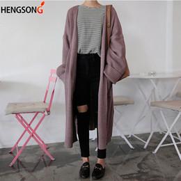 cardigan tricoté à poche longue Promotion Pull de dame Harajuku Long Cardigan 2018 Printemps Automne Pull En Tricot Femmes Grand Manteau Casual Longue Poches Poches