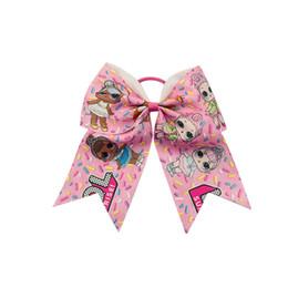 "Wholesale Brown Hair Bows - 9style available printed grosgrain LOL ribbon 7"" Cartoon Hairbands Cute Girls Cheer Bow Handmade Scrunchies Hair Clips 10pcs"