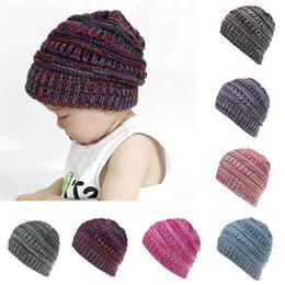 Cappello di lana del bambino online-Toddler Infant Baby Cappelli Bambini Ragazzi Ragazze Colore Combinazione Knited Woolen Copricapo Bambini Inverno Cappello Caps casquette enfant 6M-4T