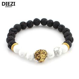 Deutschland DIEZI Lava Stein Onyx Neue Buddha Armbänder Für Frauen Gold Lion Schmuck Schwarz Yoga armband Männer Mujer Pulseras armbänder armreifen Versorgung