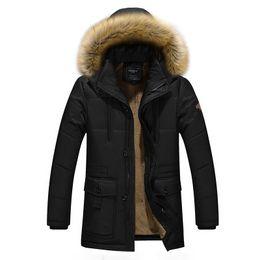 Wholesale Polyester Fleece Hat - 2017 Men's Casual Winter Jacket Brand Design Fleece Thick Warm Outwear Parkas Popular America and Canada 4xl T641