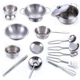Wholesale Kitchen Girls - Super anti fall stainless steel male girl children toy kitchen set 28tx W
