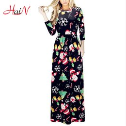 Wholesale Print Silk Maxi Dress - 2018 Sexy Women Winter Vintage Print Boho Ladies Long Maxi Dress Pocket Ice Silk Tunic Party Christmas Dresses Xmas Vestidos