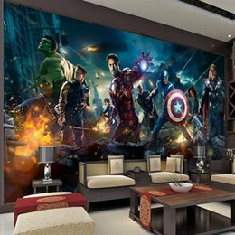 Wholesale Print Backgrounds - The Avengers Wall Mural Hulk Captain Americ Thor Photo Wallpaper Movie poster Custom Wall Mural Kids room Nursery Sofa TV background wall
