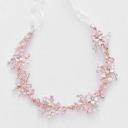 Fioritura di viti online-2019 Rose Gold blossom Bridal Tiara Hair Vine Delicate Wedding Headband Hair Crown mano cablata copricapo delle donne