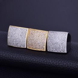 Anello cobalto zirconio cz online-Anello da uomo Anello zircone cubico dorato Materiale rame argento dorato Ghiaccio a pallini squadrati CZ Larghezza 7-12