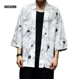 Wholesale japan style kimono - Men Japan Style Kimono Cardigan Shirt Coat Crane Printing Fashion Casual Thin Jacket Summer Outerwear