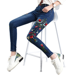 Cravatta fiori colorati online-Plus Size 4XL Fiori Ricamo Jeans Donna Vintage Pantaloni a matita Vita alta Skinny Jeans donna Pantaloni lunghi Pantaloni donna C3887