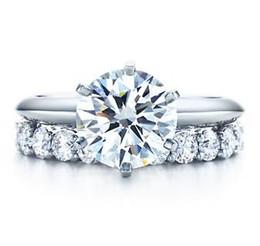 2019 diamantes semi montagem Marca de moda Total 3.21 ct Conjuntos de Anel de Diamante Sintético de Noiva Casamento Prata Esterlina Semi Montagem Designer 18 K banhado a ouro branco diamantes semi montagem barato