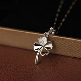 Wholesale Simple Short Necklace Pendant - Copper-plated silver short necklace women Korea zircon four-leaf clover pendant simple Japan and South Korea clavicle chain
