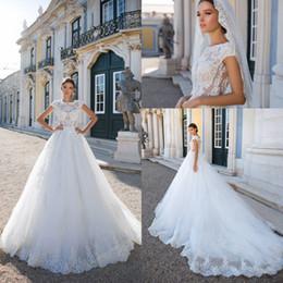 Wholesale Elegant Vintage White Short Dress - 2018 White Elegant A Line Tulle Wedding Dresses Cap Sleeves Illusion Bodices Lace Appliques Long Bridal Gowns Vestidos De Noiva