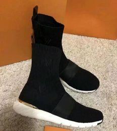 botas bordadas zapatos Rebajas Zapatos para mujer Aftergame Sneaker Boot, tejido elástico bordado, suela de goma, con recibo en la bolsa de polvo, envío gratis