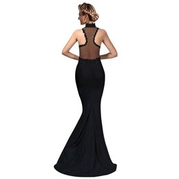 Wholesale evening gowns tail - Modern black dinner dress hot sell elegant lace red black long tail mermaid evening dress dinner prom party cocktail gowns special occasion
