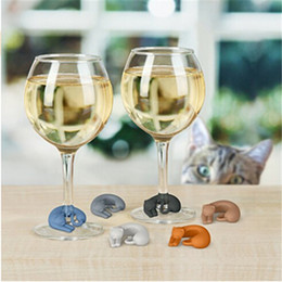 Wholesale Marker Stickers - 6pcs set Party Silicone Cup Recognizer Cute Cat Wine Glass Label Silicone Glasses Marker Sticker New Year Festival Decor