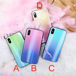 Étui arc-en-ciel iphone bleu en Ligne-Luxe Gradient Couleur Étui En Verre Trempé Pour iPhone 7 8 Rainbow Bleu Ray Couverture de Téléphone Pour iPhone X 7 Plus Paillettes Cas