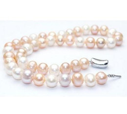 Wholesale Nice Pearl Necklace - Nice 8-9mm Natural South Seas White Pink Purple Pearl Necklace 18inch 925 Silver Clasp