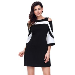 Wholesale Block Dresses - 2018 New fashion Women Blouse Black White Color block Bell Sleeve Cold Shoulder Top Mujer Camisa Feminina Office Ladies Clothes