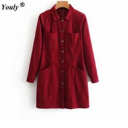 2a060e934f Vintage Hepburn Chaqueta de abrigo largo de pana delgada de un solo pecho  Mujeres 2018 Collar de cobertura Vino rojo Vestidos elegantes camisas sin  mangas ...
