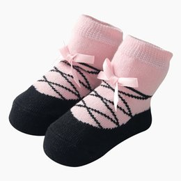 Wholesale baby ballet socks - 2018 fashion Ins Baby Girls Socks Dance Ballet Kids Short Sock Bow Printed Newborn Party Socks