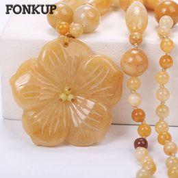 2019 collana di perle di topaz Fonkup Gem Stone Necklace Women Long Chains Topaz Bead Catins Ladies Ciondolo gioielli Trendy Round Beading multistrato Locket collana di perle di topaz economici