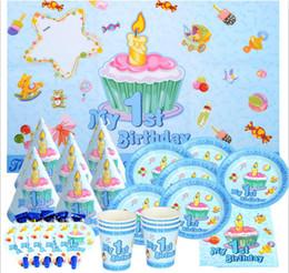 premières décorations d'anniversaire Promotion 51pcs / set premier anniversaire garçons / filles 1er anniversaire fête décoration plaque coupe serviettes de paille nappe pour 6kids parti fournitures