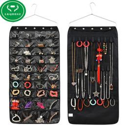 Wholesale Jewelry Organizer Hooks - Wholesale-40 Pockets Double Sided Hanging Jewelry Organizer Bracelet Earring Ring necklace Holder Hang Hook Bag