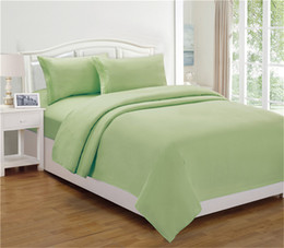 Wholesale Modern Pillow Shams - Thuja Bedding Sets 4pcs High Quality Polyester 100T Flat Sheet Solid Fashion Style US All Size Pillow Shams Mix Color Green Wholesale