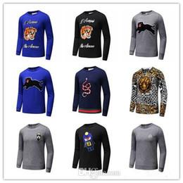 Wholesale Wool Long Coats - Men's Black Striped Knit Wool Tiger Embroidered Sweatshirt Man Brand Men Sports Sweater Coat Jacket Pullover Designs Cardigan Designer