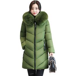Wholesale Winter Jacket Fur Wadded - Wholesale- 2017 Women Winter Large Fur Hooded Parkas Female Thick Warm Cotton Coat Women Wadded Winter Jackets Outwear Plus Size 6XL CM1695