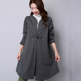 Wholesale skirted trench - Women Coat Cotton Autumn Winter Trench Coat for Women Gray Black Long Sleeve Skirts Long Size M-2XL