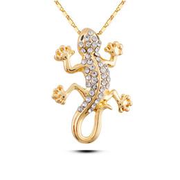 Collares de gecko online-N168 Rhinestone Gecko Collar de plata y oro Color Jewerly Allergy Free 2017 mujeres colgante collar