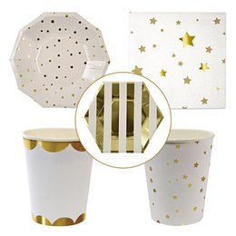 Wholesale Decorative Paper Napkins Wholesale - Wholesale Golden Striped And Stars High-end Disposable Tableware Set Paper Plates Cups Napkins Party Wedding Carnival Tableware Supplies