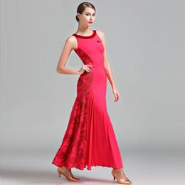 catena di danza del ventre rosso Sconti Vestito da ballo sexy da donna Vestito da ballo da ballo sexy da donna Completo da donna moderno Waltz Tango Costume da palco standard B-6062