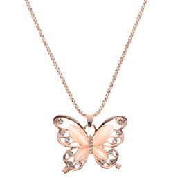 fashion crystal butterfly Promo Codes - Rose Gold Opal Butterfly Pendant Necklace Crystal Hollow Long Necklace Women Fashion Lady Sweater Chain Gift Charm