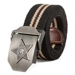 Wholesale jeans star women - New Men & Women Unisex High Quality Five Rays Star Military Belt Old CCCP Patriotic Retired Soldiers Canvas Jeans Belt