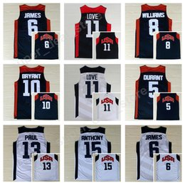 Wholesale red tens - 2012 USA Basketball Jerseys Dream Team Ten 5 Kevin Durant 6 LeBron James 10 Kobe Bryant 13 Chris Paul 8 Deron Williams 11 Kevin Love Anthony