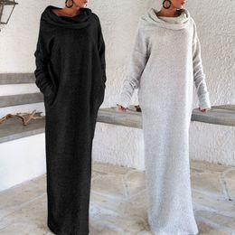 Wholesale Women Off Shoulder Puff Sleeve - Heaps Collar Pocket Long Dress Puff Sleeve Irregular Fleece Off Shoulder Women Turtleneck Casual Loose Robe OOA4160