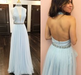 Wholesale Halter Blush Prom - Baby Blue Halter Tulle Prom Dresses Beaded Crystal Tulle Floor Length Backless Prom Dresses With High Neck Blush Pink Party Dresses