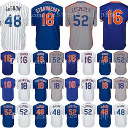 Wholesale Darryl Strawberry - Mens New York 52 Yoenis Cespedes 16 Dwight Gooden Baseball Jerseys 18 Darryl Strawberry 48 Jacob deGrom Jersey Adult
