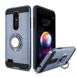 Wholesale phone cases prices - For LG Stylo 4 G7 K30 K10 2018 PC TPU Hybrid Defender Brushed Metal Cell Phone Case With Ring Kickstand Cover Low Price