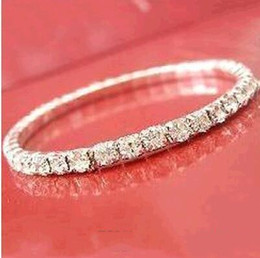 Wholesale cheap gold plates - 2018 Cheap Sparkle Women Prom Party Wear Elastic 1 Row Sliver plated Crystal Bangle Bridal Bracelets Party Jewelry