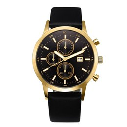 Wholesale Dress Golden Brown Color - Luxury Black Men Watch Gold NORTH Brand Waterproof Genuine Leather Casual Business Dress Wristwatch Golden Quartz Male Clock