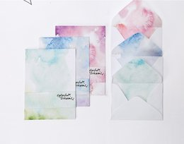 Wholesale Fresh Side - 2pcs 162x144mm Envelope + 4pcs 159x220mm Stationery Fresh colorful Patterned 3 Colors Choose 120G Two-side Offset Paper Material